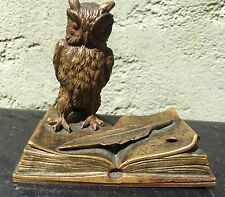 Art Nouveau bronze Owl On book Sculpture