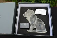 "Lalique Crystal ""Bamara"" Frosted Glass Lion Figurine With Box & Papers - France"