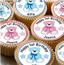 24 PERSONALISED 1ST BIRTHDAY CUP CAKE - FAIRY CAKE TOPPERS BOY / GIRL X24