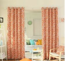 Curtain Drapes Set Zebra Panel Pair Orange Darkening Grommets 84-inch Long Youth