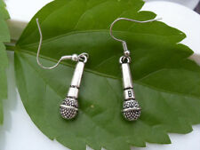 Details about  Gothic Metal Silver Plated Musical Microphone Charm Earrings@4