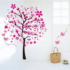 Cartoon Heart Tree Butterfly Wall Stickers Removable Decals Wall Decor Pink