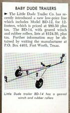 1954 Magazine Photo Baby Dude Boat Trailers Little Dude Co. Fort Worth,TX