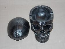 NEW DECORATIVE GOTHIC GRINNING SKULL HEAD WITH REMOVABLE LID ASHTRAY