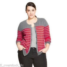 Merona Women's Favorite Cardigan Sweater - Gray/Orange Stripe - XXL - NEW NWT