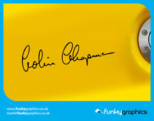 COLIN CHAPMAN LOTUS FOUNDER SIGNATURE CAR DECALS STICKERS GRAPHICS x 2