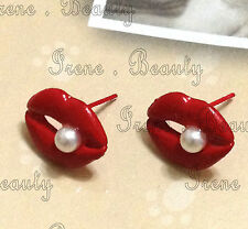 HOT RED MOUTH KISS LIPS WHITE PEARL PIN STUD Fashion Funny Jewellery Earrings