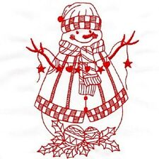TEN REDWORK SNOWMEN   EMBROIDERED QUILT BLOCKS