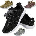 SALE ! LADIES GLITTER RUNNING TRAINERS LACE UP FITNESS GYM SPORTS SHOES SIZE