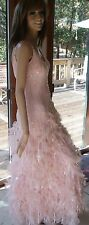 MSRP $389 LOVELY CACHE S/4 100% SILK PINK FANTASY FEATHER FORMAL / PROM / GOWN