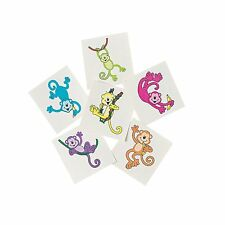 36 Assorted Funny Neon Monkey Kids Temporary Tattoos Party Favors