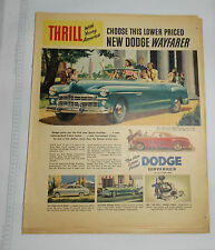 LOT OF FOUR 1949-1951 DODGE/PLYMOUTH COLOR ADS 10X13 WOULD BE NICE FRAMED