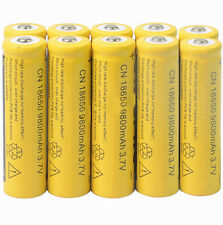 10x 3.7V 18650 9800mAh Yellow Li-ion Rechargeable Battery For Torch Flashlight