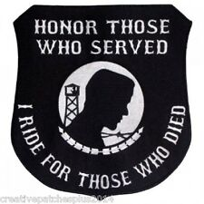 """military biker patches """"I ride for those who died"""" POW/MIA large patch 12 inch"""