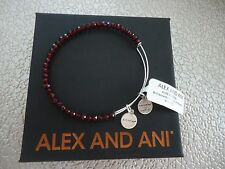 Alex and Ani LIFE ON MARS  BRILLIANCE BEADED Shiny Silver Bangle W/Tag Card Box