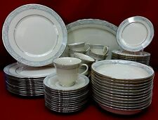 LENOX china CHARLESTON pattern 73-pc SET for 12 with Soups + Oval Platter Oval