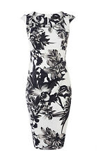 KAREN MILLEN MONOCHROME FLORAL PRINT WIGGLE PENCIL EVENING PARTY DRESS SIZE 10