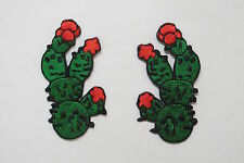 #2372A Left & Right Cactus w/Red Flower Embroidery Iron On Appliqué Patch/Pair