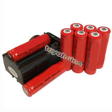 8x 18650 4.2V Li-ion 6000mAh Red Rechargeable Battery+ GTL Charger USA
