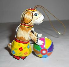 Vintage Tin Toy Standing Dog Rolling Ball Ornament ZZ Germany Excellent!