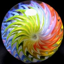 "SAMMY HOGUE HANDMADE GLASS MARBLE/1.832""-WINTER RAINBOW-GOLDEN YELLOW,LUTZ,FERN+"