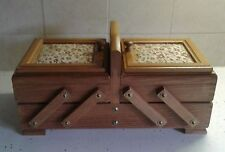 Vintage Wooden Sewing Box With Contents