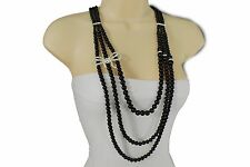 Women Black Imitation Pearl Beads Long Fashion Necklace Big Silver Bow Pendant