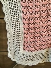 Baby Blanket in Pink and White ~ Crocheted Afghan Nursery Throw ~ Girl Blanket