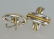 "Tiffany & Co.18ct Gold & Silver Signature X Huge 1"" Omega Backs Pierced Earrings"