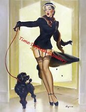 Vintage Pin-up Girl with a Poodle - Giclee Art Print