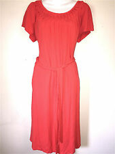 TALBOTS PETITE LADIES CORAL ORANGE JERSEY  KNIT WASHABLE DRESS & BELT ~SZ M P
