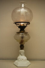 ANTIQUE OLD KEROSENE OIL ATTERBURY BOSTON SANDWICH GLASS VICTORIAN GWTW LAMP