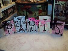 Paris  wall decor blocks sign decorative pink papers shabby French Eiffel Tower