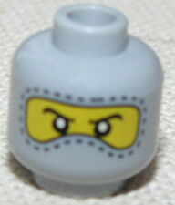 LEGO MASKED MINIFIGURE HEAD GREY AND YELLOW RACE CAR DRIVER FACE