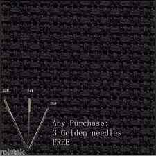 $(Free Bonus)+100% cotton top quality 14CT Aida Cloth Cross stitch Fabric-Black