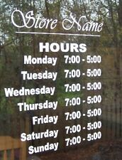 "Custom Business Store Hours Sign, Business Vinyl  Decal, Up To 12""Hx18""W outdoor"