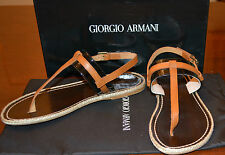 NIB GIORGIO ARMANI PATENT LEATHER THONG SANDALS  US 7 EU 37 $295
