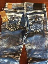 True Religion Ricky Super T Jeans Midnight Bark White Painted Size 32 X 34 $398