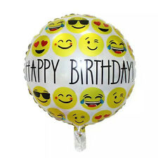 1pc Cute Happy Birthday Emoji Mylar Balloons Yellow Smiley Faces Pattern Wjj