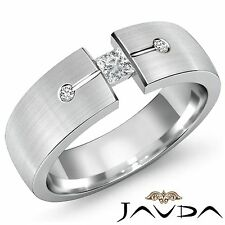 Princess Round Diamond Mens Half Wedding Band 14k White Gold 7mm Ring 0.30Ct