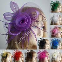 Fascinator Haarclip Haarspange Kopfschmuck Feder Blume Hut Hochzeit Braut