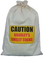PERSONALISED - CAUTION SMELLY SOCKS - NATURAL COTTON LAUNDRY BAG / STORAGE SACK