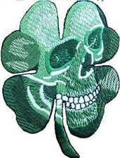 Iron On/ Sew On Embroidered Patch Badge Skull in Shamrock Skeleton Head