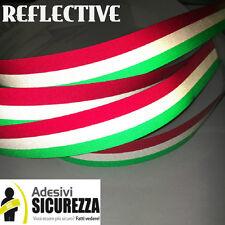 Adesivi striscia TRICOLORE RIFRANGENTE fascia bandiera Italiana 25mm x 1mt nuovo