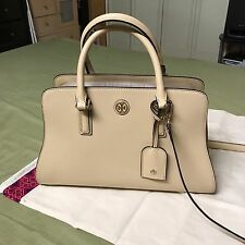 TORY BURCH Nude Medium Satchel shoulder Bag Leather + Dustbag