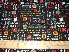 """1 yard Disney Mickey Mouse """"Mickey With Words"""" Oh Boy! Fabric"""
