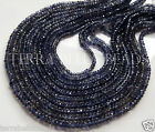 "13"" strand deep blue IOLITE faceted gem stone rondelle beads 3mm WATER SAPPHIRE"