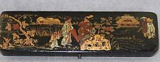 ESTATE- ANTIQUE HAND PAINTED JAPANESE OBLONG PENCIL DIP PEN BOX TRADITIONAL 8.5""