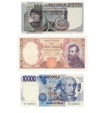 Italia 3 Banconote: 10.000 lire Volta, Michelangelo, Castagno (Riproduzione)