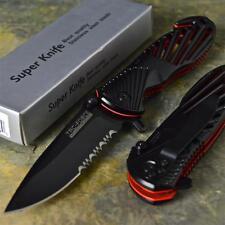 TAC-FORCE New Black Red Spring Assisted Glass Breaker Open Folding Pocket Knife